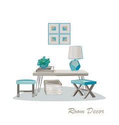 Interior design modern elements living room vector