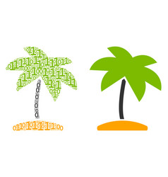 island tropic palm composition of binary digits vector image