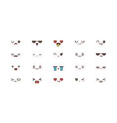 kawaii smile emoticons japanese emoji vector image