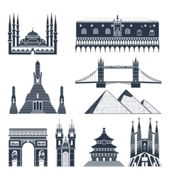 Landmarks And Monuments Black Set vector