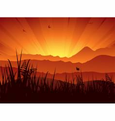 landscape sunset vector image
