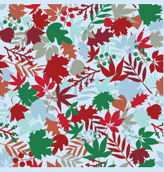 leaves and flowers winter seamless pattern with vector image