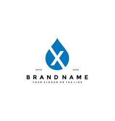 Letter x water drop logo design vector