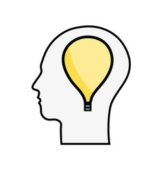 line silhouette head with bulb inside vector image