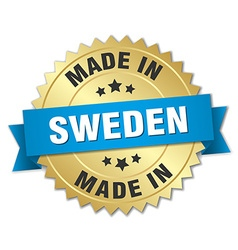 made in Sweden gold badge with blue ribbon vector image