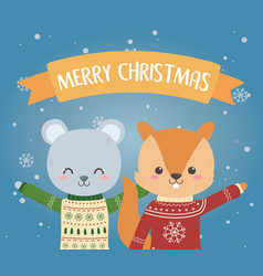 merry christmas celebration bear and squirrel vector image
