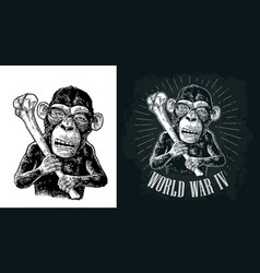 monkey holding tibia vintage black engraving vector image