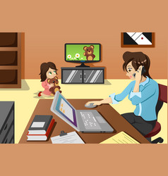 mother working in the office vector image