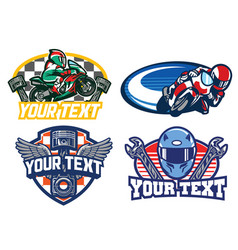motorbike racing badge design vector image