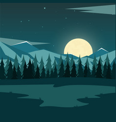 nature mountains landscape moonlight rocky vector image