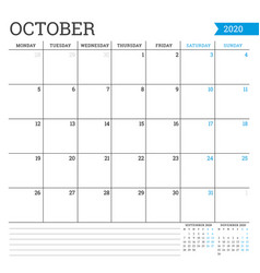 October 2020 square monthly calendar planner vector
