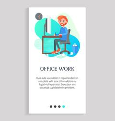 office work man working table writer website vector image