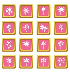Palm tree icons pink vector