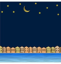 Paper town near river at night vector image vector image