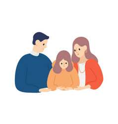parents calming down and support unhappy child vector image