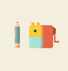 pencil and sharpener in flat style vector image