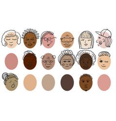 people different nationalities head portraits vector image