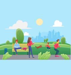 people have fun in green urban city park boy vector image