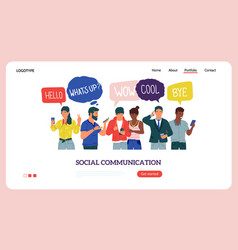 people with phones landing page social vector image