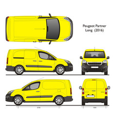 Peugeot partner long wheel base cargo van 2016 vector