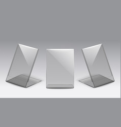 Plastic card size glass table stand set from front vector