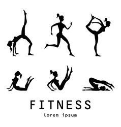 Poses silhouettes yoga set Women class center vector