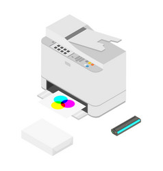 Printer paper and cartridges isometric view vector