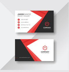 Professional modern business card with red details vector