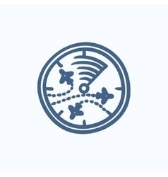 Radar screen with planes sketch icon vector image