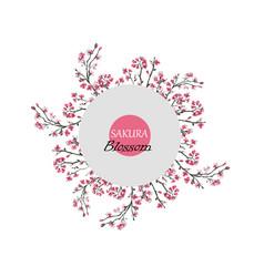 realistic sakura blossom greeting card vector image