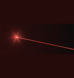 Red laser beam light effect isolated on vector