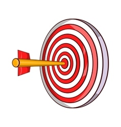 Red target and dart icon cartoon style vector