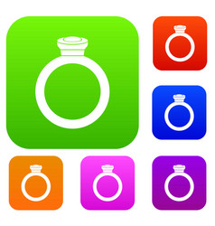 ring set color collection vector image