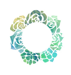 Round frame of watercolor succulents with a top vector