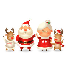 santa calus his wife mrs claus and two reindeer vector image