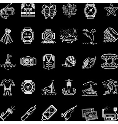 Scuba diving white line icons collection vector