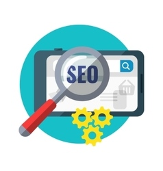 SEO Concept Magnifying Glass on Tablet vector image