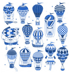 set hot air balloons isolated on white vector image