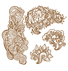set of henna tattoo floral ornaments vector image