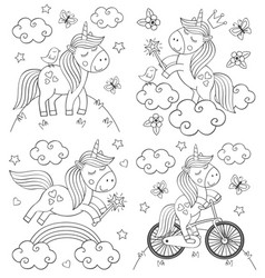 set of isolated coloring cute unicorn vector image