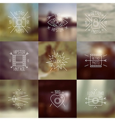 Set of trendy badges and blurred backgrounds vector image