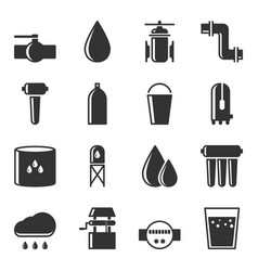 Set of water supply icons for water sources vector