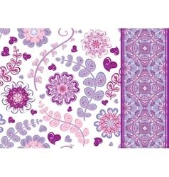 set vintage floral seamless pattern and border vector image
