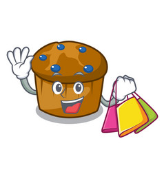 shopping mufin blueberry character cartoon vector image