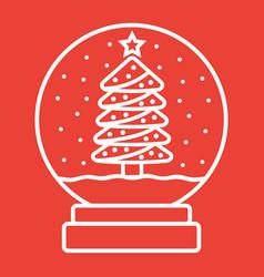 Snow globe line icon new year vector