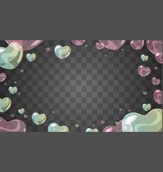 soap heart-shaped bubbles vector image