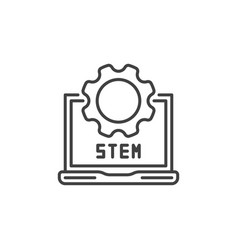 stem laptop with gear outline icon or sign vector image