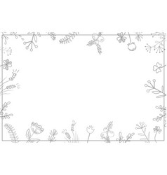 stylish floral frame grey on white card vector image