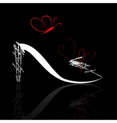 stylized shoe silhouette with butterfly vector image