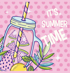 Summer time juice cartoon vector